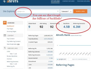 Showing how many backlinks to Google